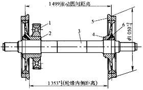 内燃机车轮对(locomotive wheel set)1.从动齿轮;2.长毂轮心;3.车轴;4.短毂轮心;5.轮箍;6.螺堵