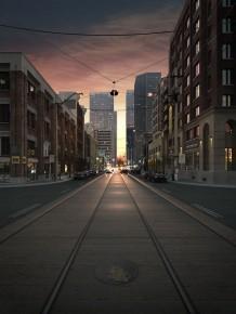 城市现代有轨电车轨道表现效果图