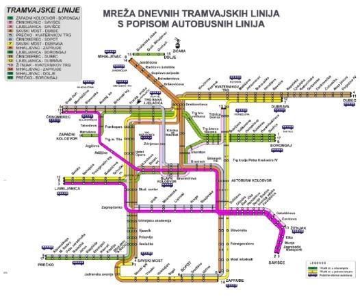 图2:萨格勒布的有轨电车运行图